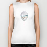 white Biker Tanks featuring balloon fish by Vin Zzep