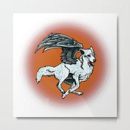 Flying Wolf Metal Print