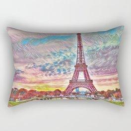Eiffel Tower, Paris, France Sunset landscape painting by Jeanpaul Ferro Rectangular Pillow