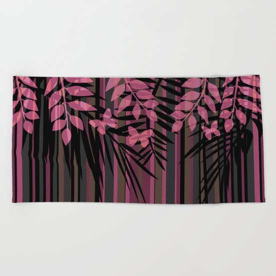 Butterflies and leaves on a striped red-and-black background . Beach Towel