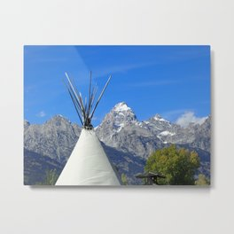 Tipi with snow capped mountains Metal Print