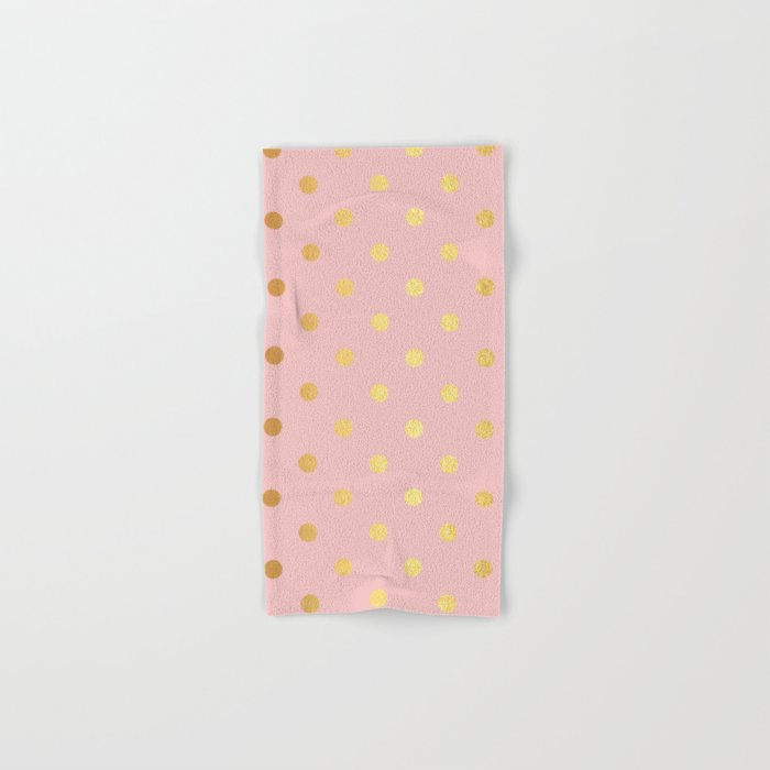 Gold polka dots on rose gold background - Luxury pink pattern Hand & Bath Towel