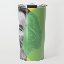 Walt Whitman portrait yellow green Travel Mug