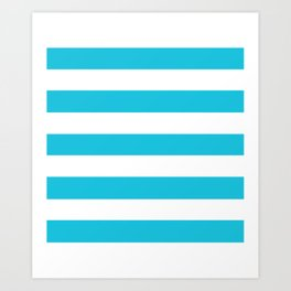 Caribbean blue - solid color - white stripes pattern Art Print