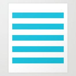 Caribbean blue - solid color - white stripes pattern Art Print