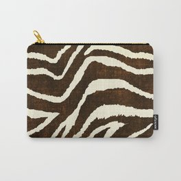 ANIMAL PRINT ZEBRA IN WINTER 2 BROWN AND BEIGE Carry-All Pouch