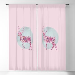 Flower Deer and circle pastel blue pink colors Blackout Curtain