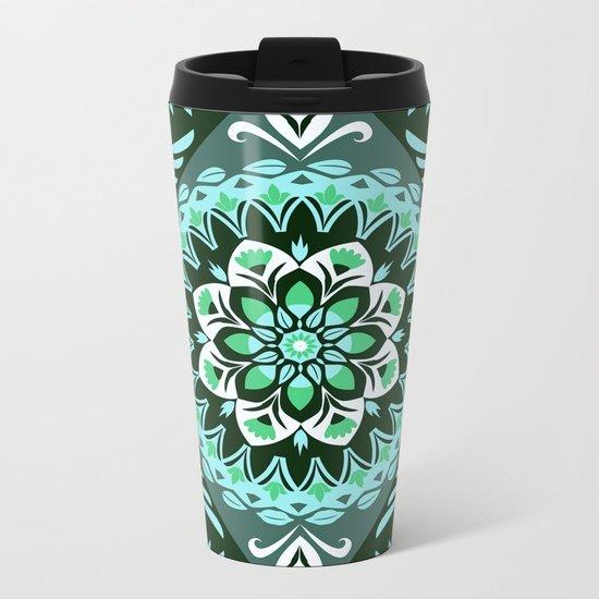Elegant Turquoise Floral Fractal Metal Travel Mug