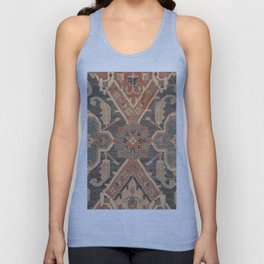 Geometric Leaves II // 18th Century Distressed Red Blue Green Colorful Ornate Accent Rug Pattern Unisex Tank Top