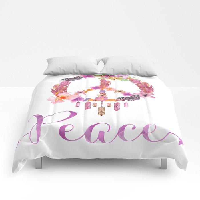 Peace Symbol Flower Power 70s Art Comforters By Lebensart Society6