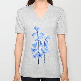botanical bluebell flowers watercolor Unisex V-Neck