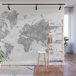 "Watercolor world map with LABELS IN SPANISH, ""Jimmy"" Wall Mural"