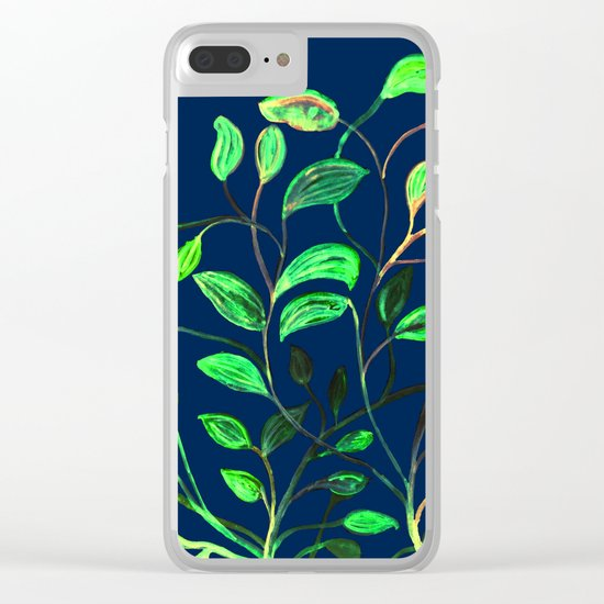 Greenery Spring leaves on Navy Blue Clear iPhone Case