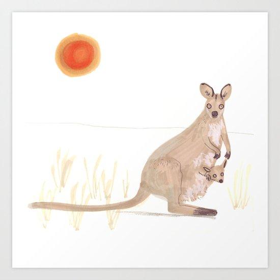Kangaroo and baby Art Print
