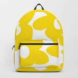 Large Yellow Retro Flowers on White Background #decor #society6 #buyart Backpack