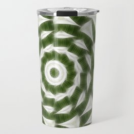 Green White Kaleidoscope Art 4 Travel Mug