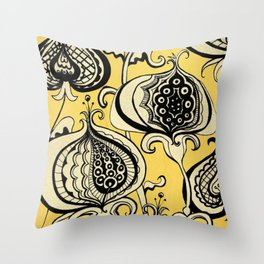 Black and Yellow Floral Throw Pillow