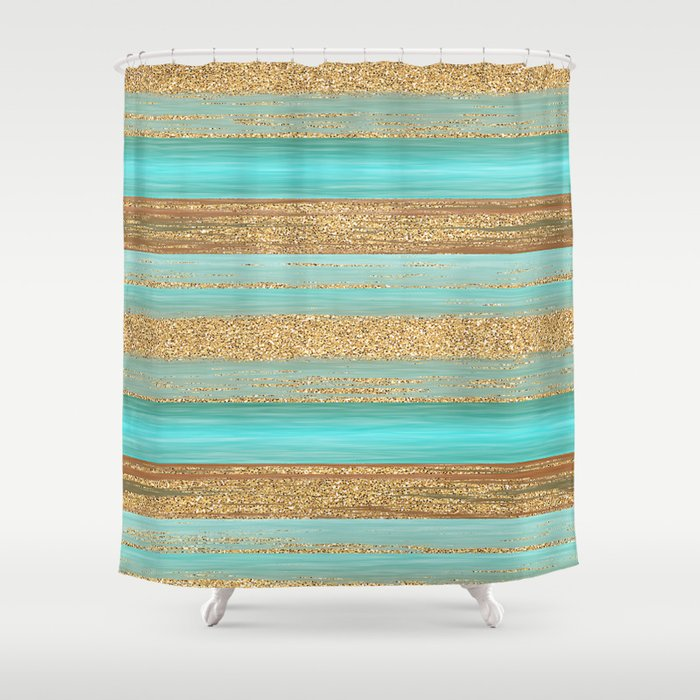 Turquoise Brown Faux Gold Glitter Stripes Pattern Shower Curtain By  Diversestuff | Society6