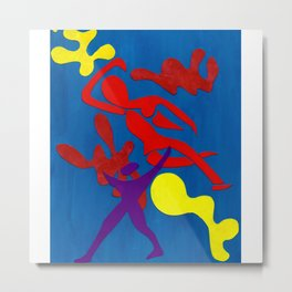 Henri Matisse-esque Abstract Paper Cut Figures Metal Print