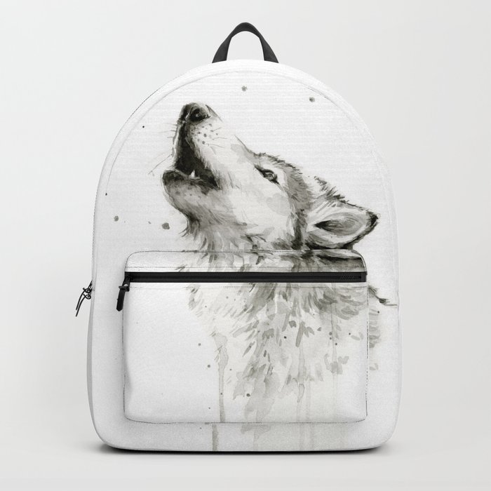Wolf Howling Watercolor Animals Wildlife Painting Animal Portrait Backpack