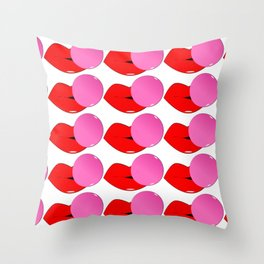 Red Lips and Pink Bubblegum Tiled Throw Pillow