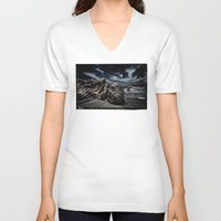 alone V-neck T-shirts featuring Alone by SpaceFrogDesigns