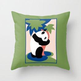 Fun retro adopt a panda Throw Pillow