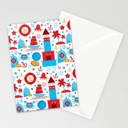 pattern with sea icons on white background. Seamless pattern. Red and blue Stationery Cards