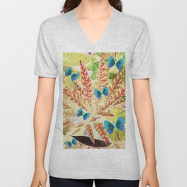 butterfly and fern beige Unisex V-Neck