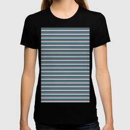 Classic Vintage Horizontal Stripes in Cool and Funky Retro Teal, Blue, Aqua, Rose Pink and Burgundy T-shirt