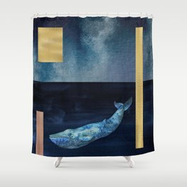 Blue Whale - Gold, Copper And Deep Blue Shower Curtain