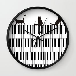 Piano Cat Wall Clock