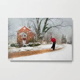 The Winter Cottage Metal Print