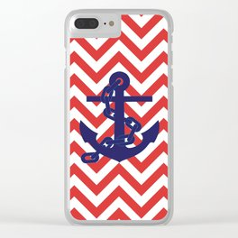 Blue Anchor on Red and White Chevron Pattern Clear iPhone Case