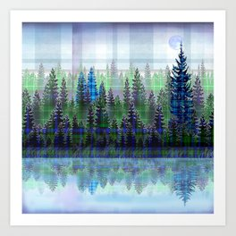 Nature Reflected Plaid Pine Forest Art Print