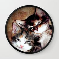 best friends Wall Clocks featuring best friends by Lydia Cheval