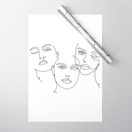 Abstract Faces in One Simple Line Wrapping Paper