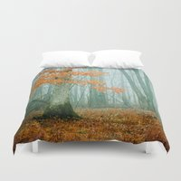 autumn Duvet Covers featuring Autumn Woods by Olivia Joy StClaire