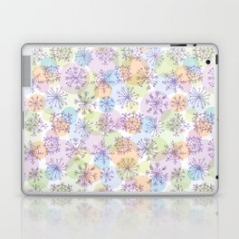 Merry Christmas pattern with purple snowflakes on light background Laptop & iPad Skin