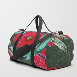 SHABBY CHIC BLUE DRAGONFLIES ON  FUCHSIA HOLLYHOCK FLOWERS Duffle Bag