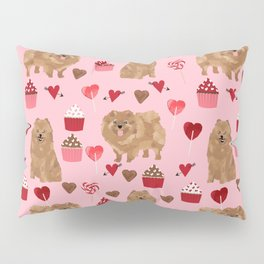 Pomeranian valentines day love hearts cupcakes pattern cute puppy dog breeds by pet friendly Pillow Sham