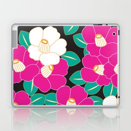Japanese Style Camellia - Pink and Black Laptop & iPad Skin