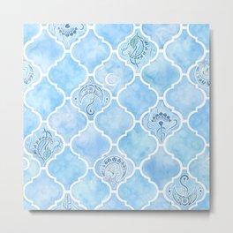 Watercolor Arabesque Tiles with Art Nouveau Focal Designs in Blue Metal Print