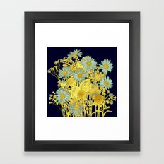 blue daisies and gold Framed Art Print