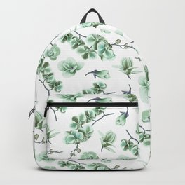 Pastel green watercolor modern orchid floral pattern Backpack
