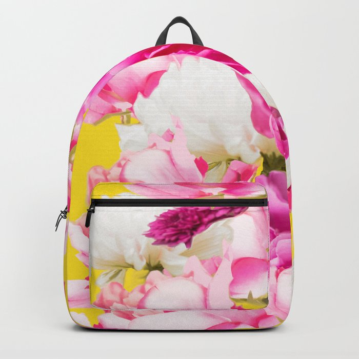 Beauties of nature - large pink flowers on a yellow background Backpack