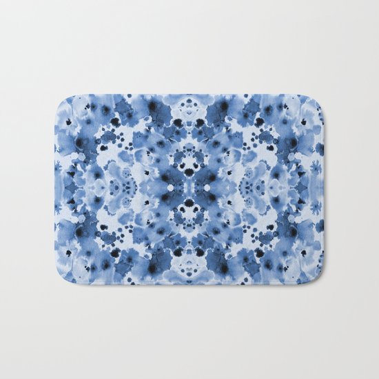 Indigo Splash - painterly blue artist summer watercolor cute cell phone case Bath Mat