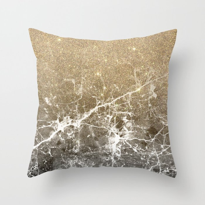 Vintage Black White Gold Glitter Marble Throw Pillow By Pinkwater