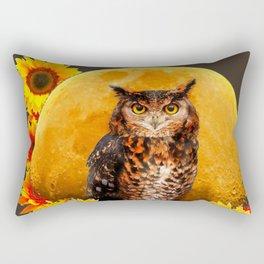 NIGHT OWL MOON SUNFLOWER ART Rectangular Pillow