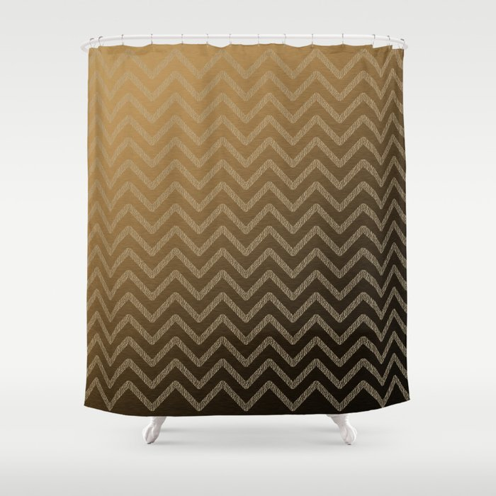 Brass glitter chevron pattern Shower Curtain